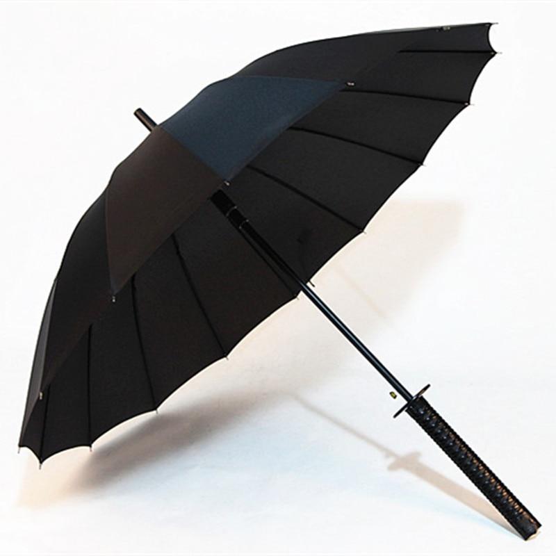 Direct Selling Creative Umbrella Black Handle 16 Bone Samurai Handle Umbrella All-Weather Umbrella Men Gift Umbrella A Consignme