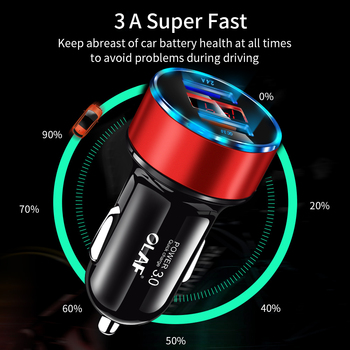 30W 3A Carregador de carro rápido Carga rápida 3.0 Dual USB para iphone XR XS Max Xiaomi Huawei Carregador de telefone móvel Isqueiro do carro 1