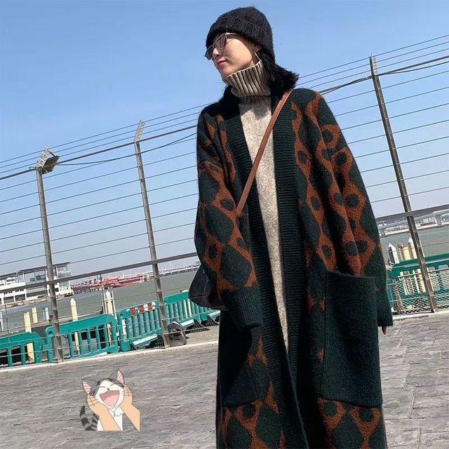 2019 kış rahat kaşmir trençkot kadın karikatür vinçler desen hırka açık dikiş örgü uzun dış giyim büyük boy
