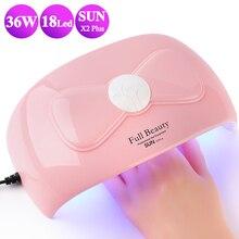 36W Nagel Trockner UV Lampe 18 LEDs Sonnenlicht Nagel Lampe Trocknen Alle Gel Lack Polish Smart Nail art Ausrüstung maniküre BESUNX2Plus