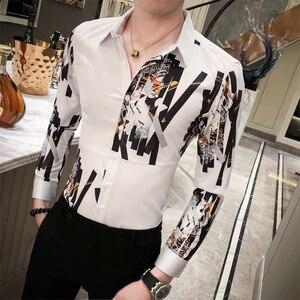 Image 3 - Ingiliz tarzı erkek gömlek rahat moda eklenmiş tasarım dijital baskı lüks erkekler için gömlek uzun kollu Slim Fit bluz erkekler 3XL M