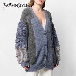 TWOTWINSTYLE Patchwork Pelz frauen Strickjacken V-ausschnitt Laterne Langarm Übergroßen Weiblichen Pullover 2020 Herbst Winter Mode Neue
