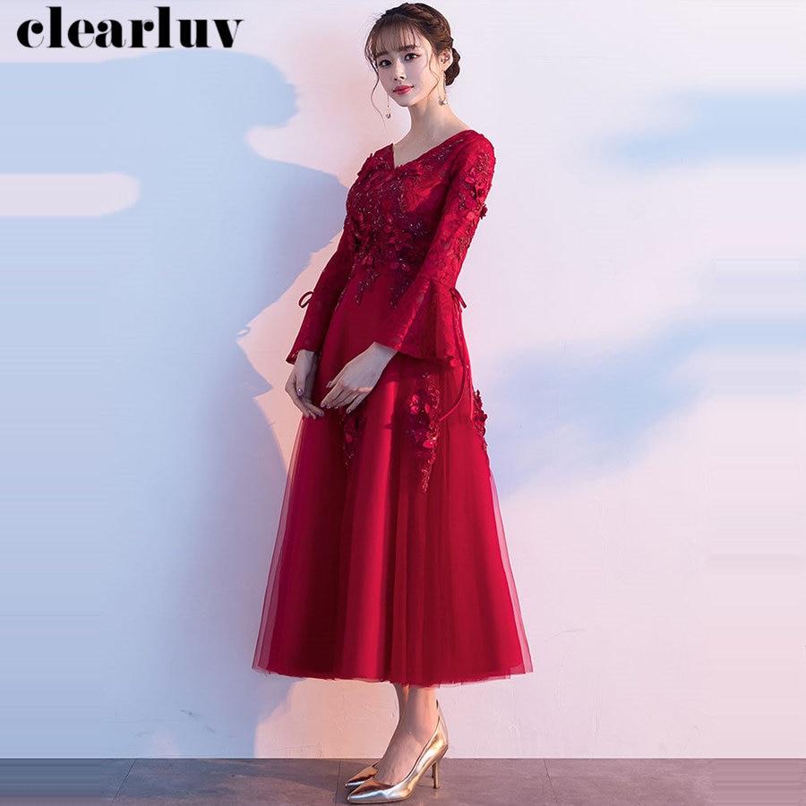 V-Neck Pregnant Women Prom Dress Plus Size Long Sleeves Dresses Women Party Night Y020 2019 Burgundy Prom Gown Vestidos De Gala