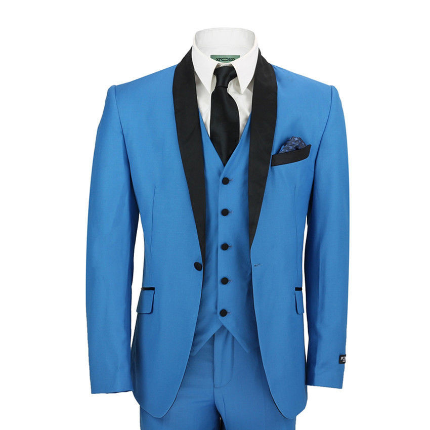 Custom Made NBlue 3 Pieces MEN Suits Single Breasted Wedding Business Prom Suit Lapel Tuxedos Men Suits (Jacket+Pants+Vest) G528