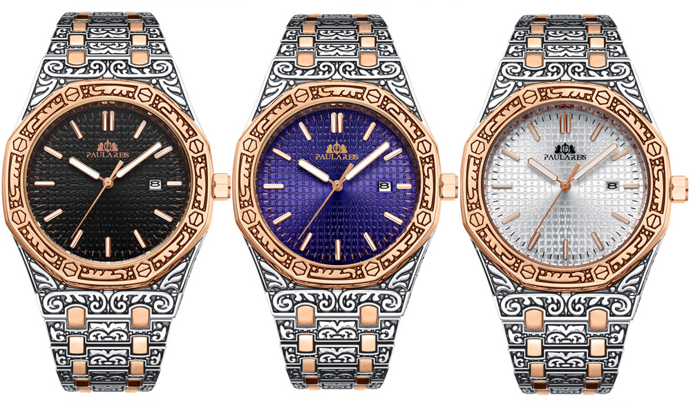 He7482c3b8d4848d4a0da94fa57c01fd7D Men Carved Antique Vintage Luminous Rose Gold Yellow Gold Silver 2 Tones Fashion Blue Classic Quartz luxury watch