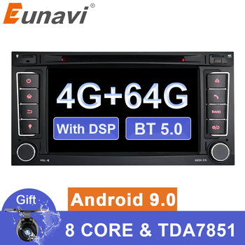 Eunavi 2 Din car dvd multimedia Android 9 DVD For VW Volkswagen Touareg Transporter T5 Canbus Autoradio GPS Navi FM radio wifi image