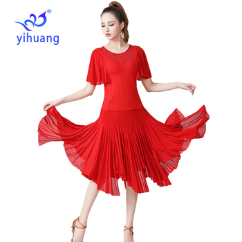 Women Dance Performance Wear Costumes Modern Standard Dress Ballroom Practice Outfits Waltz Tango Blouses & Skirt 2pcs Set - discount item  30% OFF Stage & Dance Wear