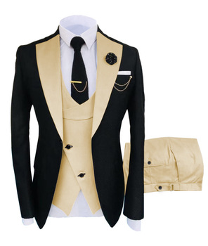 New Costume Slim Fit Men Suits Slim Fit Business Suits Groom Black Tuxedos for Formal Wedding Suits Jacket Pant Vest 3 Pieces 20