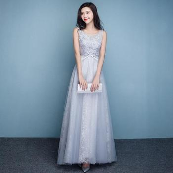Elegant Gray Lace Embroidered Evening Dresses Vestido De Noche Fashion O Neck Sleeveless Party Prom Gown Plus Size Host Dress