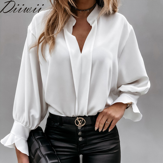 Diiwii Women Autumn Long Sleeve Tops Elegant Casual O Neck Solid Color Blusa Office Ladies Metal Button Basic Shirts Blouse 1