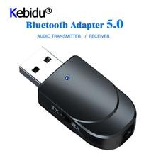 3 IN 1 미니 블루투스 5.0 오디오 수신기 송신기 3.5mm 잭 AUX USB 스테레오 음악 무선 어댑터 TV 차량용 PC 헤드폰