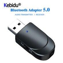 3 IN 1 Mini Bluetooth 5.0 ses alıcısı verici 3.5mm Jack AUX USB Stereo müzik kablosuz adaptörü için TV araba PC kulaklık