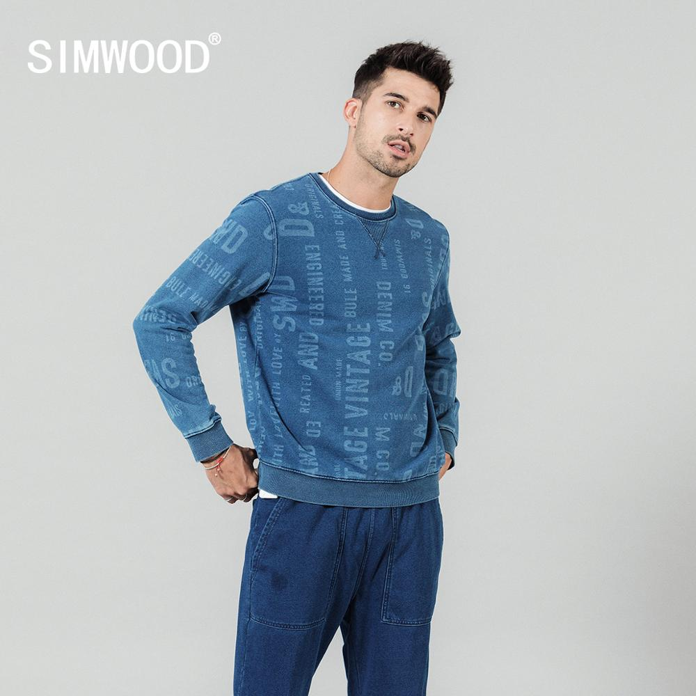 SIMWOOD 2020 spring new letter print hoodies men plus size o-neck 100% cotton pullovers jooger blue indigo tracksuits SI980529