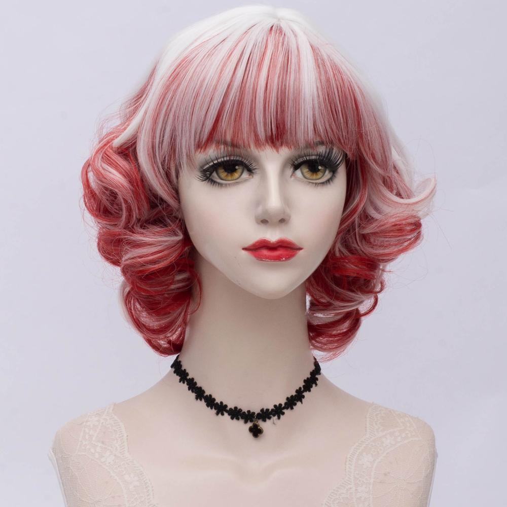 6 Colors Cosplaysalon 30CM Lolita Retro Vintage Black White Gray Red Bangs Short Ombre Party Synthetic Hair Cosplay Wig