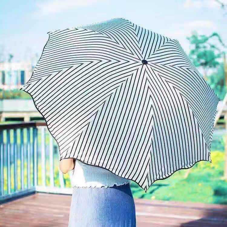 Tian Zhi Qing Creative Stripes Japanese-style All-Weather Umbrella Customizable Vinyl Parasol Folding Sun-resistant Parasol Stud