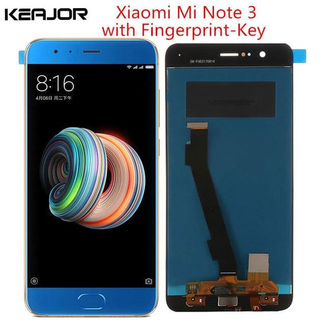 Xiaomi mi note 3 lcd 스크린 테스트 xiaomi mi note 3 디스플레이 5.5 인치 용 지문 키 부품이있는 Lcd 디스플레이 + 터치 스크린