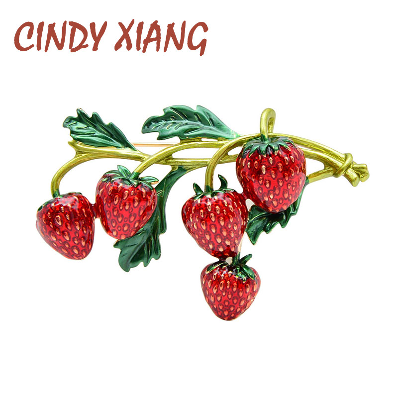 CINDY XIANG enamel strawberry brooches for women red color pin brooch plant design cute high quality jewellry summer style