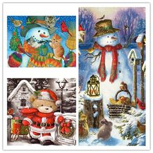5D Diamond Painting Merry Christmas Santa Claus Animals Birds Snow Scene Reindeer Bear Full Drill Paint With Diamonds Art(China)