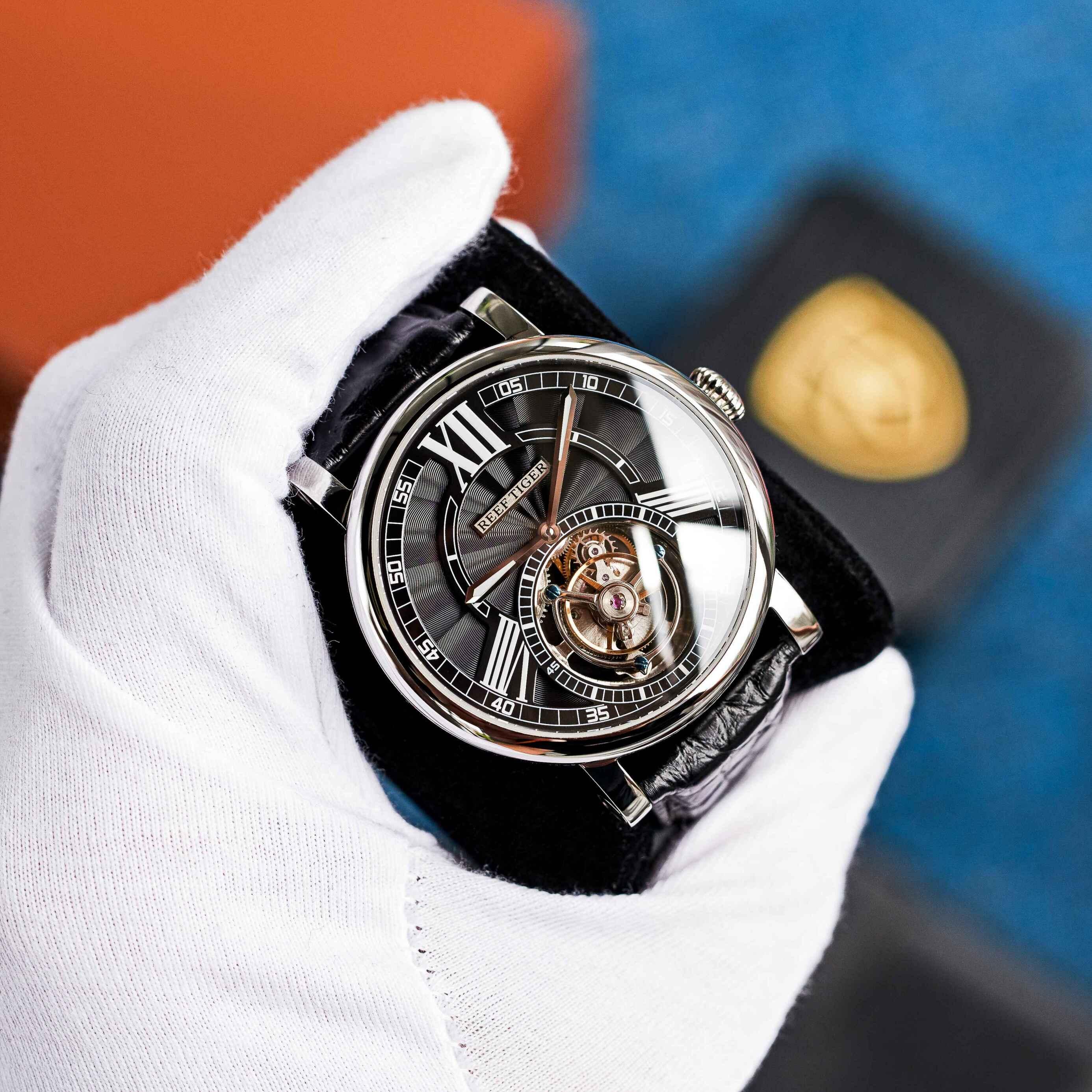 Риф Тигр/RT Роскошные повседневные часы для мужчин розовое золото ремешок аллигатора турбийон автоматические часы RGA1999|Механические часы|   | АлиЭкспресс