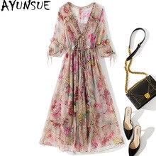 AYUNSUE Fashion 100% Real Silk Summer Dress 2021 Beach Floral Ladies Dresses Elegant Midi Boho Woman Dress Vestido De Mujer
