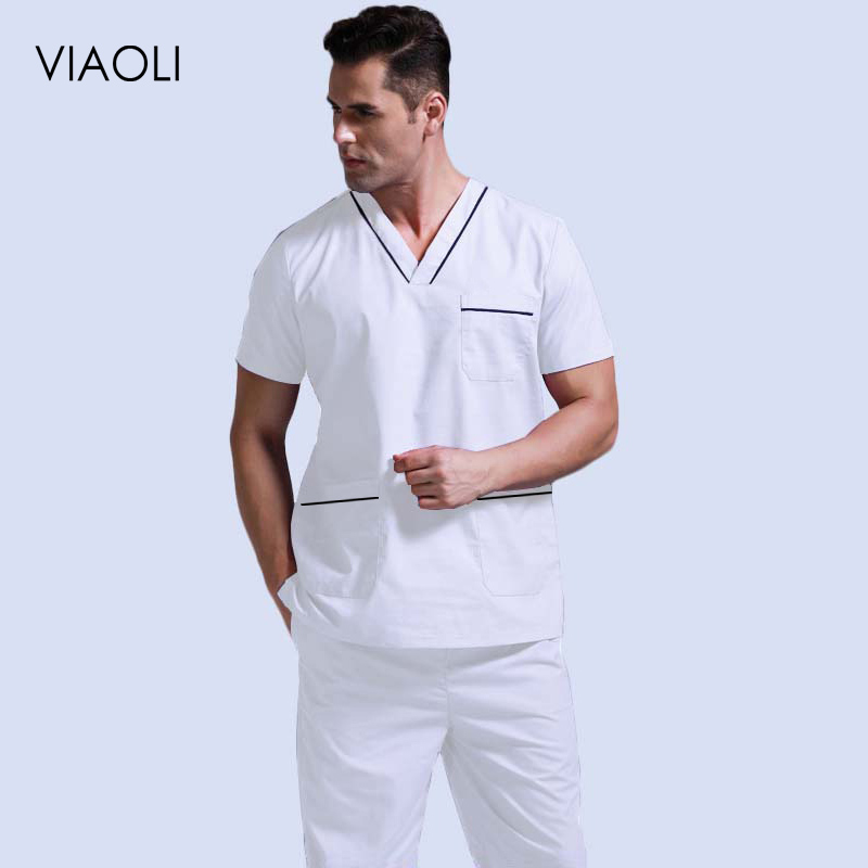 Men's Scrubs Top Pure Cotton Doctor Clothing Classic V-neck Nursing Uniform Short Sleeve Shirt With Side Vent ( A Top Or Suit)