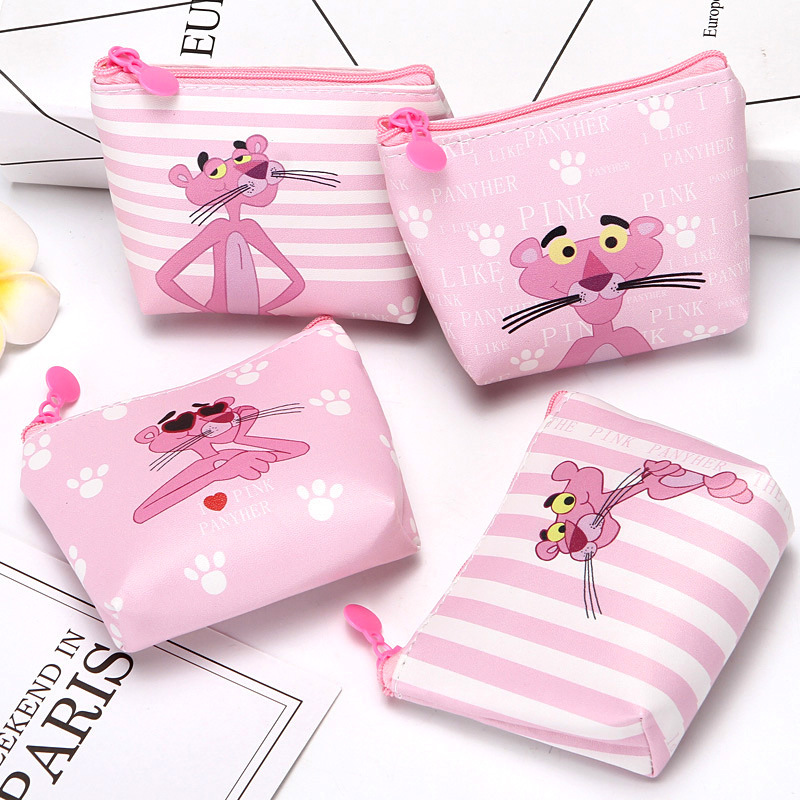 New Cartoon The Pink Panther Students Coin Purse Children PU Zipper Change Purse Women Men's Mini Wallet Key Card Bag Kids Gift