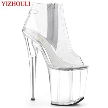 8 inch, crystal open toe boots, PU transparent upper, models use 20 cm stiletto heels for parties, sexy pole dancing shoes image