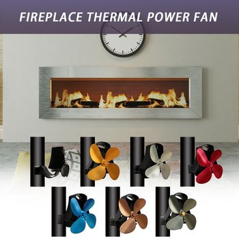 YL105 Thermal Power Fireplace Fan Heat Powered Wood Stove Fan for Wood Log Burner Fireplace Eco Friendly Four Five-leaf Fans