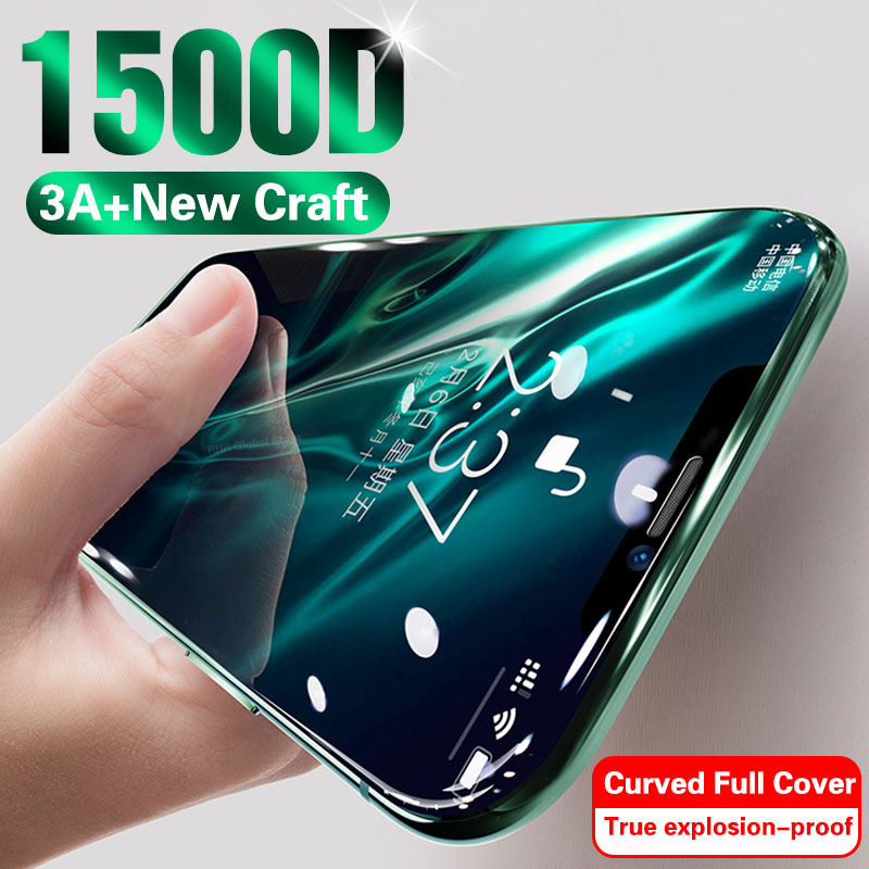 1500D 3A Curved Glass On For IPhone 11 Pro XS MAX XR X Full Cover Screen Protector Tempered Glass For IPhone 10 7 8 6s Plus Film