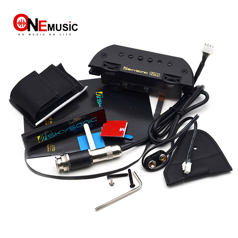 Skysonic Pro-1 micro-guitare Folk acoustique magnétique à double bobine Soundhole avec ramassage actif pour un jeu professionnel