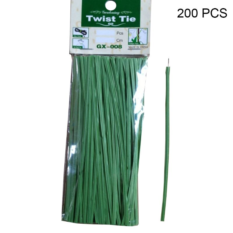 200 Pcs Package Green Gardening Binding Plant Twist Tie Line Plastic Wire Plant Support And Protective Soft Easy To Shape