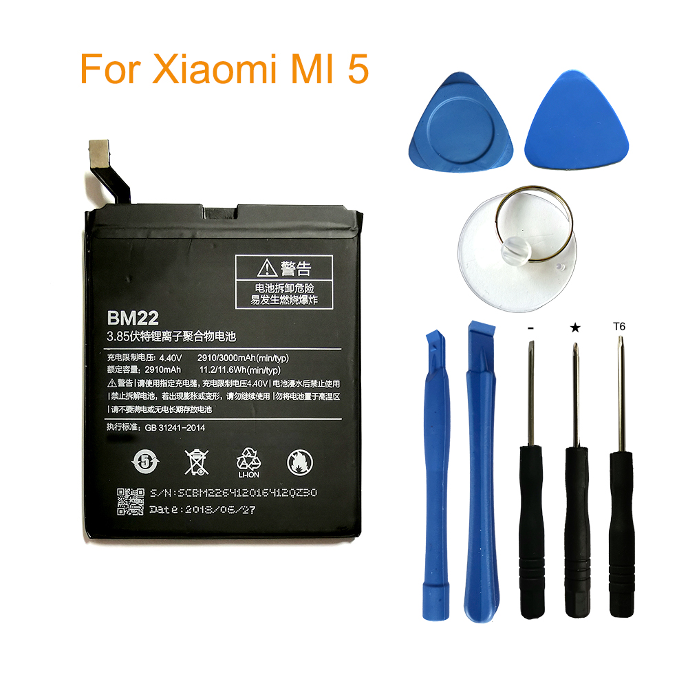 Original Phone <font><b>Battery</b></font> BM22 for Xiaomi <font><b>Mi</b></font> <font><b>5</b></font> Mi5 M5 3000mAh High Quality Replacement <font><b>Battery</b></font> Retail Package Free Tools image