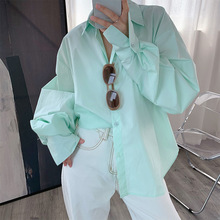 2020 Summer Women's Shirt Solid Color Loose Lapel Shirt Cott