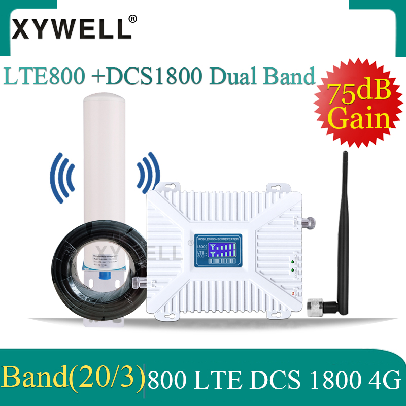 4g Repeater LTE 800 Band20 1800 Gsm Signal Booster Dual-Band Cellular Mobile Signal Booster DCS LTE 1800 800 2G 4G Gsm Repeater