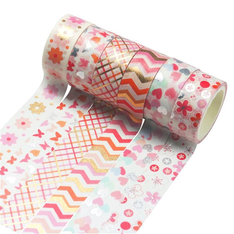 12Rolls/Set Flower Foil Silver Washi Tape Floral Decorative Tape Scrapbooking Photo Album School Kawaii Scrapbook Paper Gift Set
