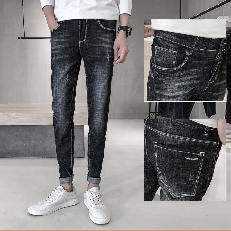 2020 Spring Jeans Men's Slim Fit Popular Brand Korean-style Youth Skinny Black And White With Pattern Casual Versatile MEN'S Jea