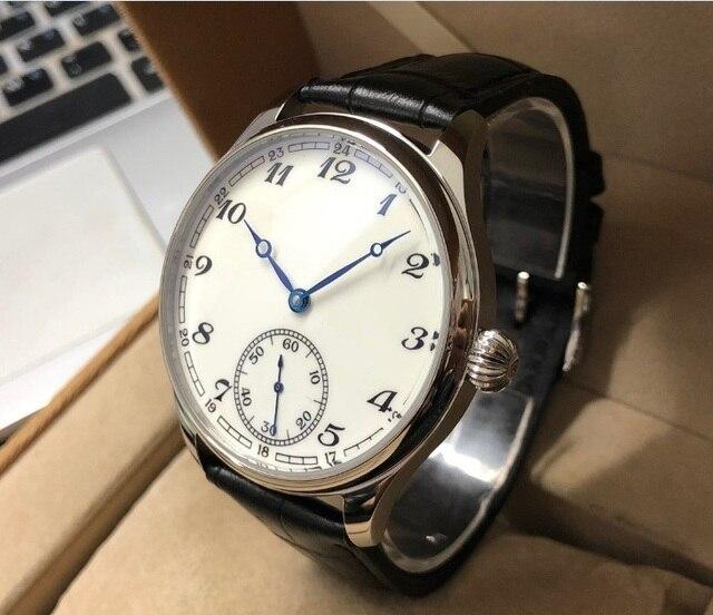 Nieuwe Mode 44 Mm Geen Logo Emaille Witte Wijzerplaat Aziatische 6498 17 Juwelen Beweging Mannen Mechanische Horloges GR47 20