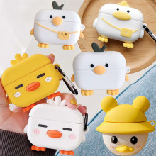 Dla Airpods Pro 3D Cute Cartoon Sleeping Chick Case dla Apple Airpods 3 kapelusz plecak kaczka bezprzewodowe słuchawki pokrywa etui z funkcją ładowania(China)