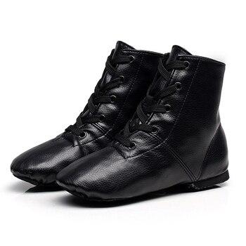 цена на Jazz boots black jazz shoes women Sports Dance Sneakers kids patent PU leather Jazz Dance Shoes Lace Up men Dancing Boots