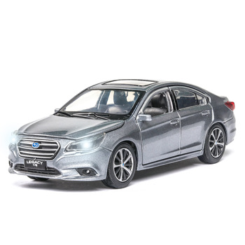 1:32 Toy Car Diecast Toy Vehicles Alloy Car Model Simulation Subarus-Legacys Sound And Light Car Doors Open For Kids Toys Gift maisto 1 24 2009 gtr35 white car diecast for nissan police open car doors car model motorcar diecast for men collecting 32512