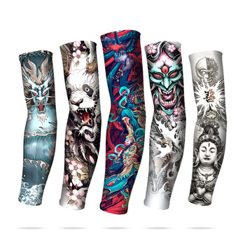 Mangas de tatuaje chino para hombres, guantes de motorista para exteriores, guantes para conducir con protección solar, mangas largas de pesca, Mangas de seda de hielo, Mangas de verano para mujeres