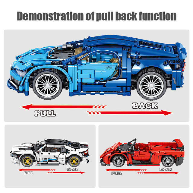 City Technic Pull Back Mechanical Sports Car Racing Vehicle Model Building Blocks Creator MOC Supercar Bricks Toys For Children