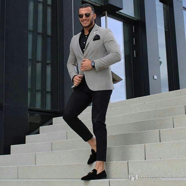Classy Grey Men Business Suits for Groom Tuxedo 2Piece Bridegroom  Slim Fit Terno Masculino Man Groomsmen Blazers Costume Homme