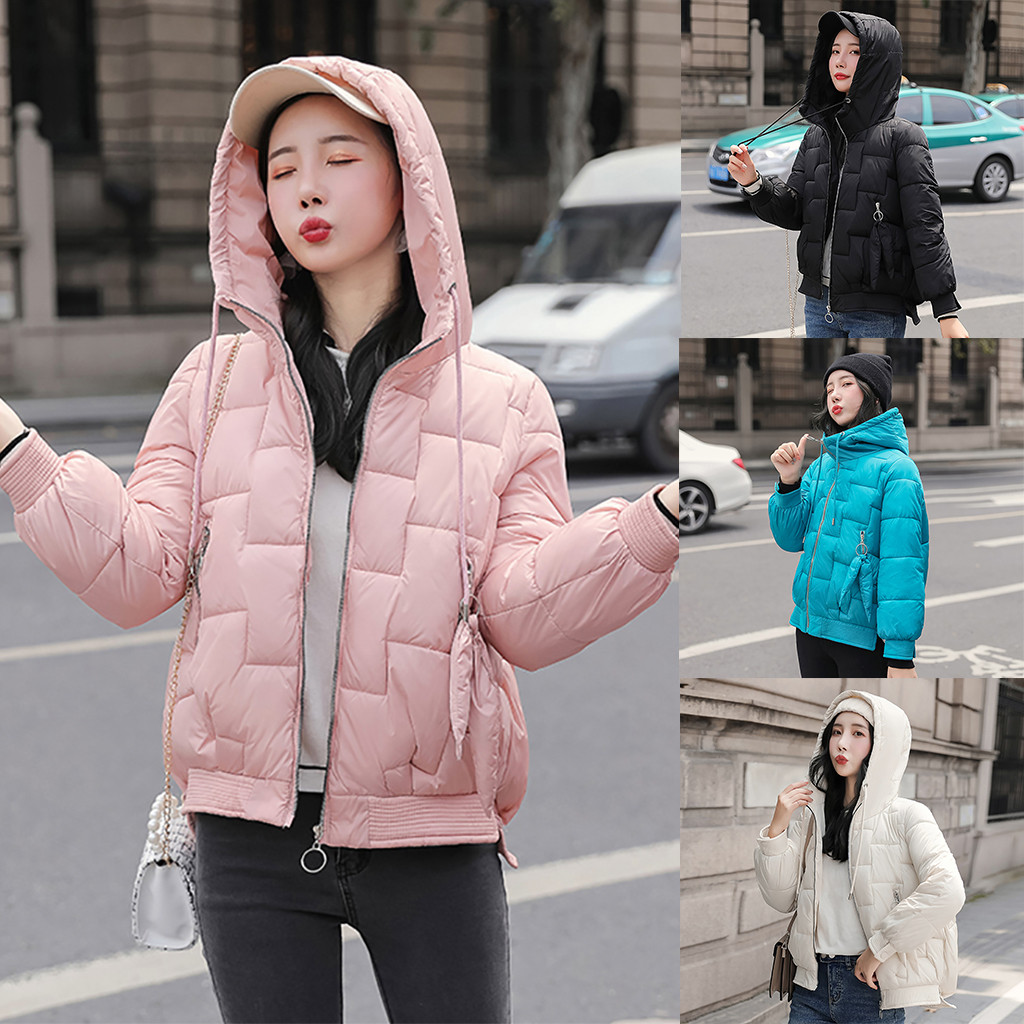 Winter Fashion Women Hooded Warm Coat Thick Loose Jacket Short Overcoat Solid Parka