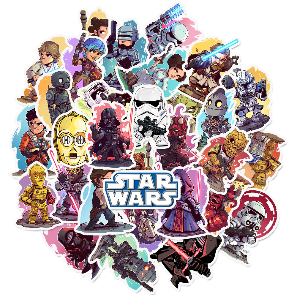 50pcs Pack Cartoon Star Wars Stickers Waterproof PVC Skateboard Suitcase Snowboard Guitar Motorcycle Laptop Sticker Kids Classic