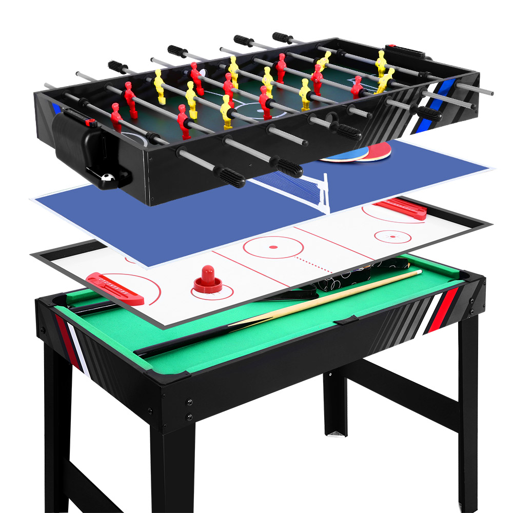 4FT Table de Football baby-foot jeu de Football maison fête Pub taille enfants adulte jouet cadeau 4-en-1 Football Hockey Table Tennis jeu de piscine A2 - 2
