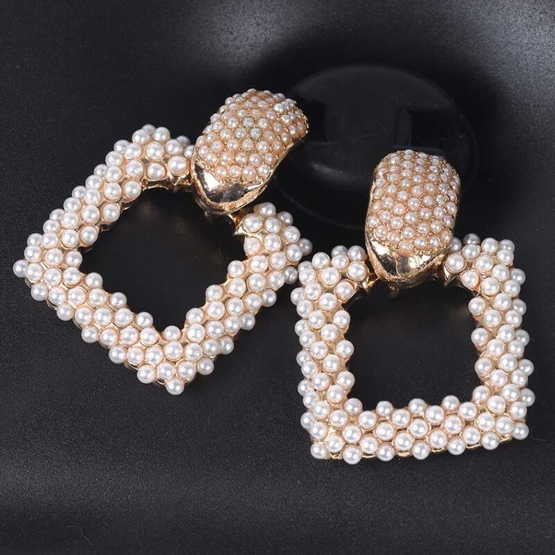 19 New Statement ZA Earrings Women Geometric Square Faux Pearl Earrings Female Wedding Bridal Party Evening Hanging Earrings 1