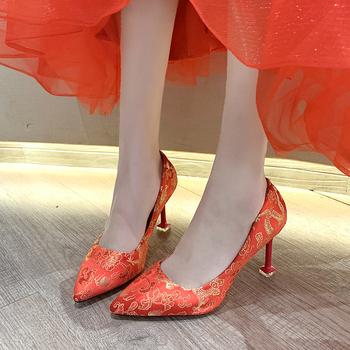 fetish high heels women designer bigtree shoes luxury 2018 brand lady wedding shoes bridal stiletto shoes pumps valentine shoes China Style High Heels Pumps Women Shoes Female Red Stiletto Shoes Dragon Cloud Pattern Chinese Banquet Party Wedding Shoes