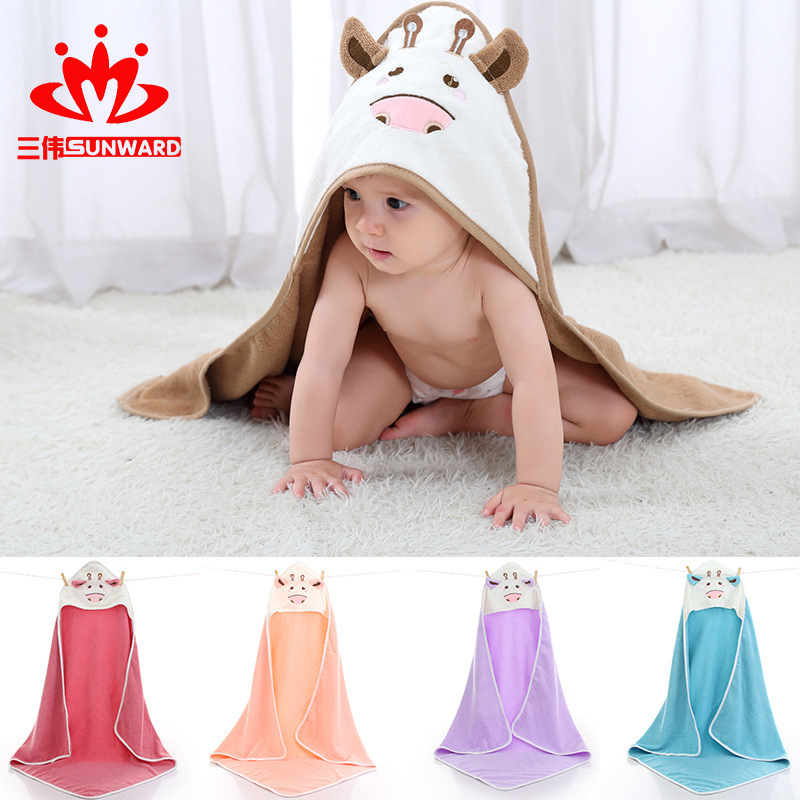 Cartoon Pure Cotton Bath Towel For Children Combed Cotton Infants Hooded Cloak Mantle Baby BABY'S BLANKET