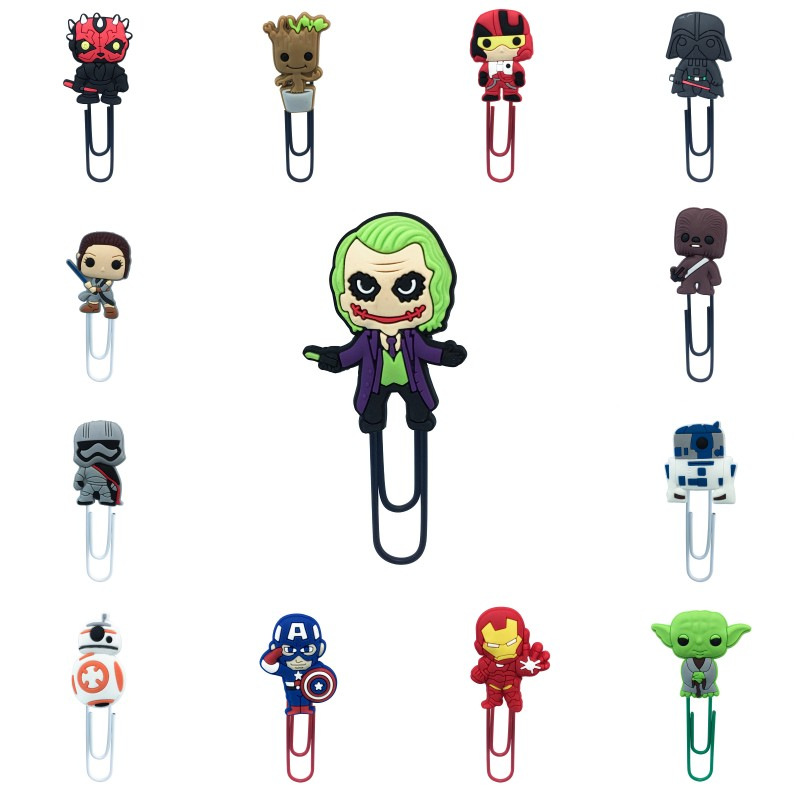 1pcs Superhero Avenger Star Wars Cartoon PVC Bookmark Metal Paper Clips Paper Holder For Teacher Students Stationery Kids Gift